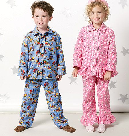 CHILD PAJAMAS PATTERN / Boys and Girls Pants - Tops - Pjs / Toddler Size 1 To 3 Or Child Size 4 To 6