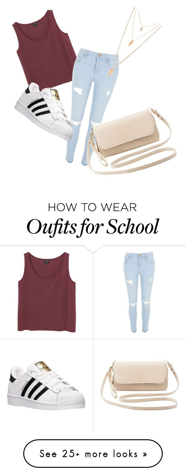"""Casual school day"" by rzogg on Polyvore featuring Monki, River Island, adidas, Forever 21, Charlotte Russe, women's clothing, women, female, woman and misses"