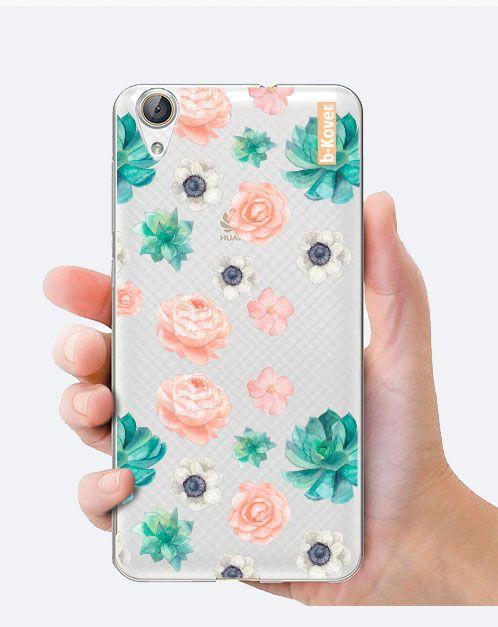 "Funda móvil silicona transparente ""print rosas coral turquesa"" | B-Kover"