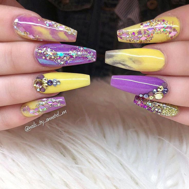 "2,134 Likes, 16 Comments - ✨Annabel Maginnis✨ (@nails_by_annabel_m) on Instagram: ""PURPLE AND YELLOW Inspired by @b_stockell Using Glamandglits :- Colour - Karen ColourPop -…"""