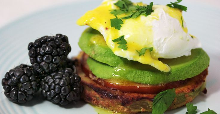 Enjoy our Paleo Avo-Cilantro Eggs Benedict, A Protein For Breakfast or Brunch perfect for Mother's Day!