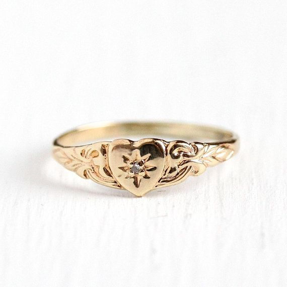 Diamond Heart Ring Vintage 10k Yellow Gold Star Incised Antique Rings Vintage Baby Gold Rings Heart Shaped Necklace