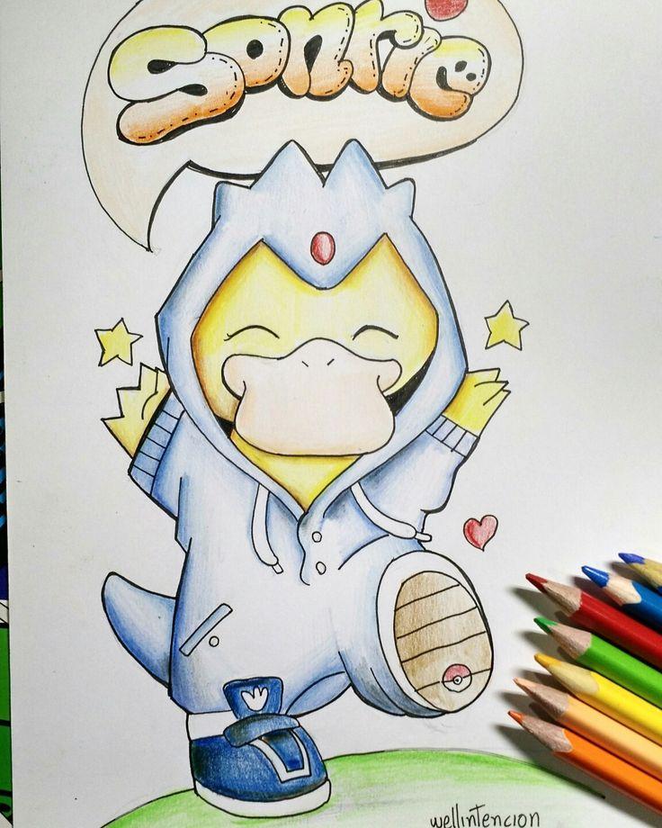 Sonrie ! #doodle #illustration   #wellintencion #aaronwell #draw #sketch #drawing #boceto #color #pencil #psyduck #pokemon