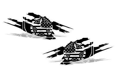 Vinyl Decal Wrap Kit for 4-Door 07-16 Jeep Wrangler Rubicon Army Star Torn BLACK