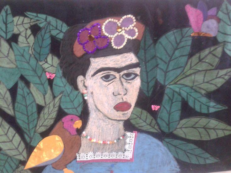 """''Φρίντα Κάλο"""" - Μεξικό Βελουτέ χαρτί, λαδοπαστέλ, διακοσμητικά υλικά"""