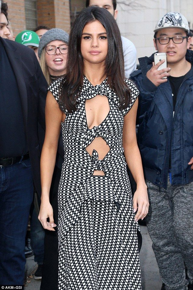 Publicity rounds: Selena Gomez was the picture of New York glamour when she emerged from a Netflix presser in the city on Wednesday