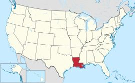 Map of the United States with Louisiana highlighted