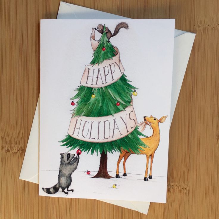 A personal favorite from my Etsy shop https://www.etsy.com/listing/256789378/woodland-happy-holidays-greeting-card