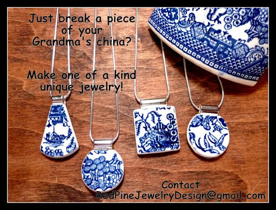 FOUR -4- Custom Made Broken China Plate Necklaces Made From Your PERSONAL PLATE