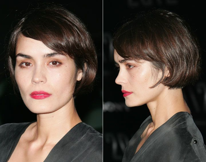 A short, French-inspired bob that rivals that of actress Shannyn Sossamon's.