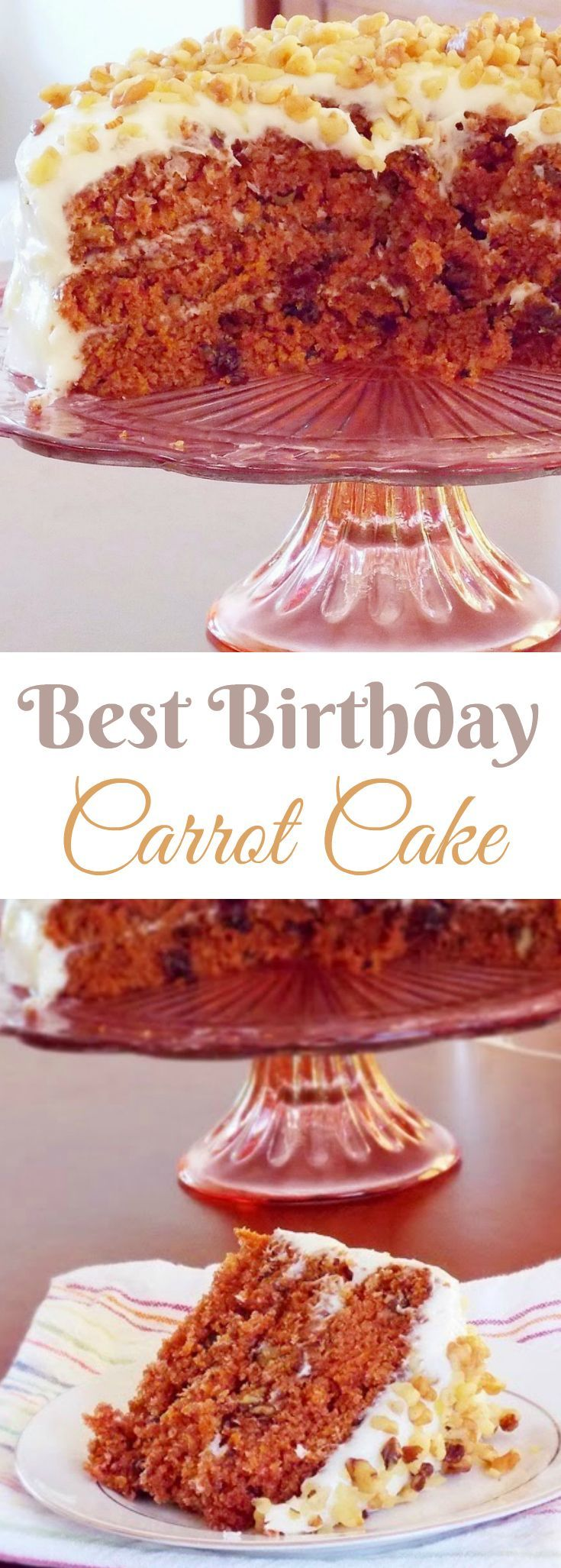 This cream cheese frosted carrot cake is moist, delicious and full of raisins and nuts making it the Best Birthday Carrot Cake to celebrate with!