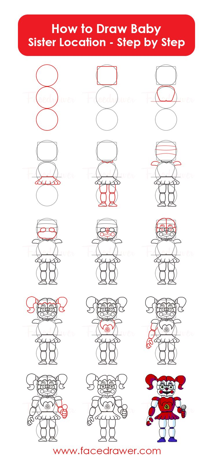 Baby is your favourite FNaF Sister location character? Learn how to draw Baby from Five Nights at Freddy's sl. FNaF characters step by step.