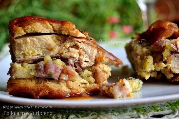 Pollo arrosto ripieno al forno una ricetta per un secondo piatto di carne molto gustoso. La preparazione è facile, spiegata passo passo con foto.