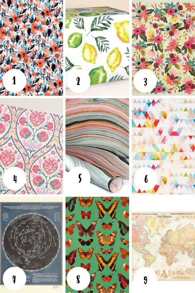 Pretty Wrapping Paper Roundup - these are gorgeous papers for creating wrapping paper art, wrapping paper crafts, or simply gift-giving!