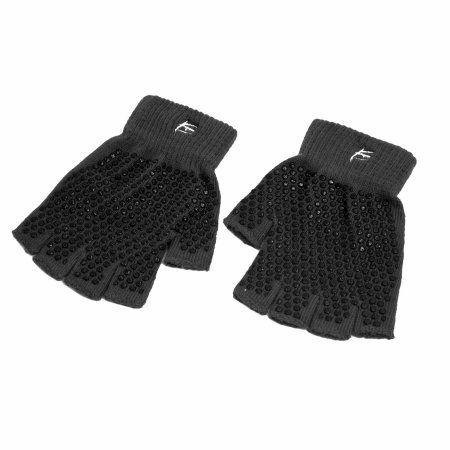 ProSource Grippy Yoga Gloves, Non-Slip Fingerless Design, Black