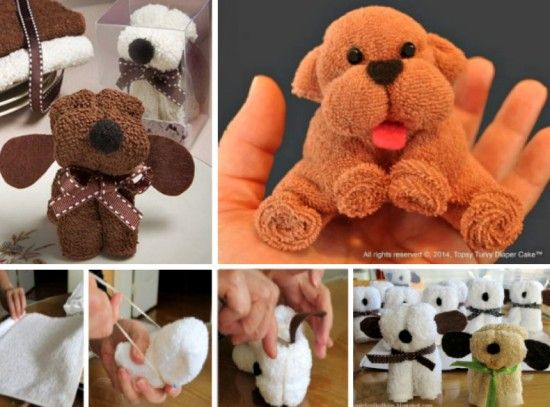 Wash Cloth Puppies perfect for a Baby Shower Gift