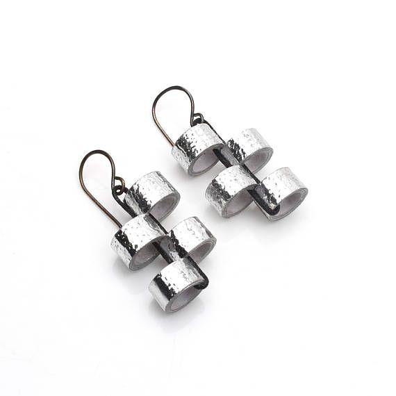 Silver Harmony Art deco earrings - Art deco jewelry - Modern jewelry - Modern earrings - Sophisticated jewelry - Sophisticated earrings
