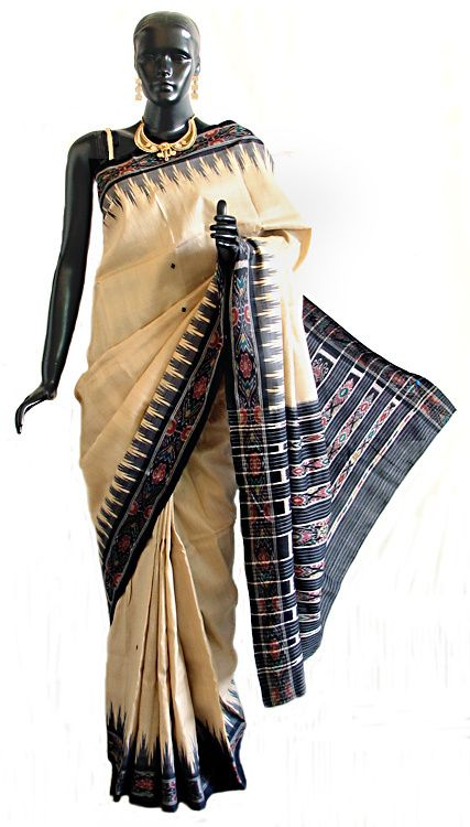 Light Beige Tussar Saree with Black Ikkat Design Border and Pallu (Silk Tussar))