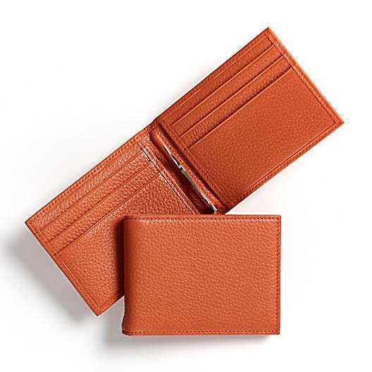 Orange Bifold with Money Clip   Italian Orange Leather