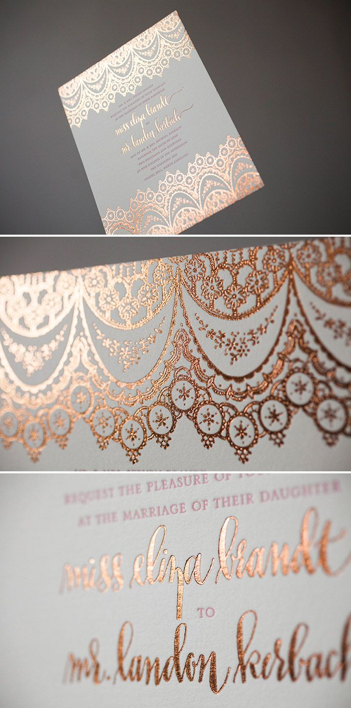 Elegant + Exotic wedding invitations in Copper Shine foil was originally published on Letterpress wedding...