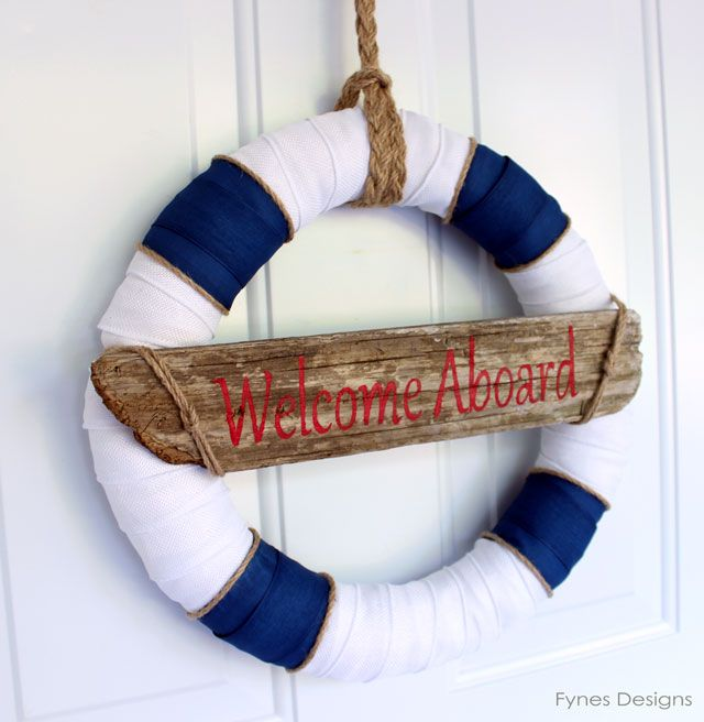 Nautical wreath from fynesdesigns.com #nautical #wreath #beach #summer #ocean #summerwreath