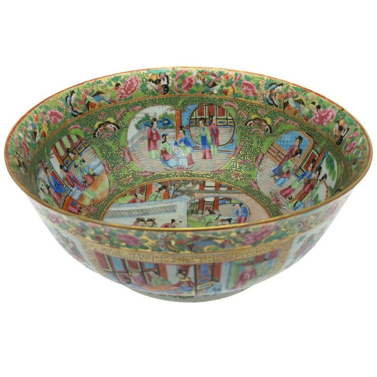 Cantonese Punch Bowl  HEIGHT:5.5 in. (14 cm) DIAMETER:13.2 in. (34 cm)   From a unique collection of antique and modern ceramics at https://www.1stdibs.com/furniture/asian-art-furniture/ceramics/
