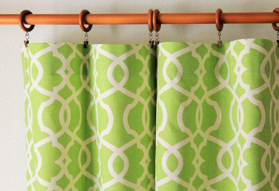 "Curtains drapes pair of 25"" wide panels Magnolia Emory trelis curtains in lime green- grey brown blue tan taupe 25x63"" 25x84 25x96 25x108"""