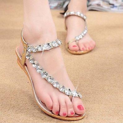Rhinestone Summer Fashion Women's Shoes Elastic Band
