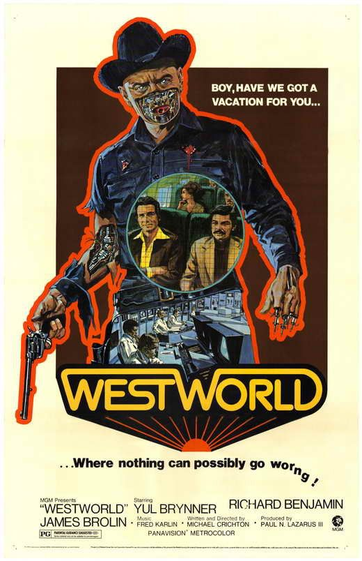 Westworld (1973) For $1,000 a day, vacationers can indulge whims at the theme park called Westworld. They can bust up a bar or bust out of jail, drop in on a brothel or get the drop on a gunslinger. I