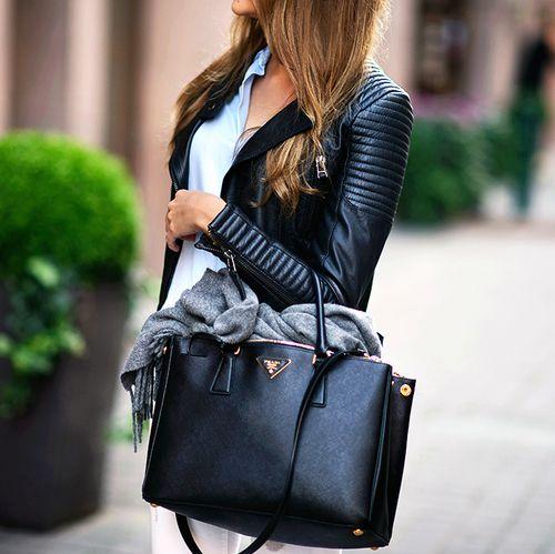 Prada black tote with gold hardware & black leather jacket