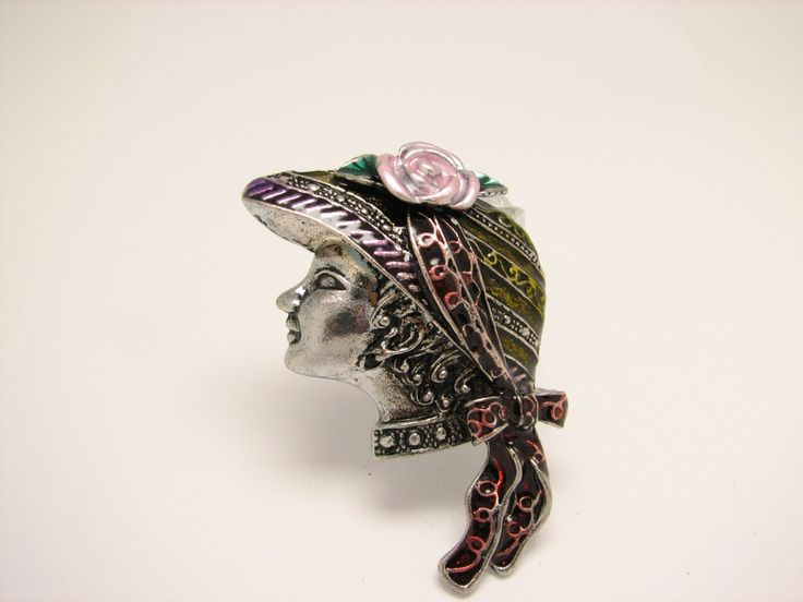 $22 Woman with hat brooch silver pin vintage figure statue broach pink flower hats pins retro broaches antique vintage jewellery jewelry purple by LiasJewelry on Etsy
