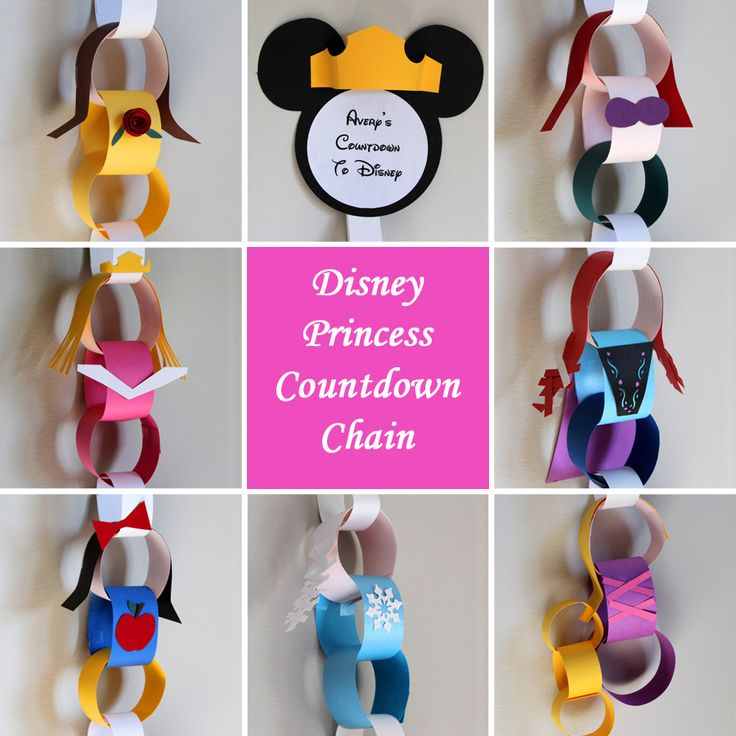 Disney Princess Countdown Chain (Elsa, Anna, Aurora, Belle, Snow White, Rapunzel, Ariel)