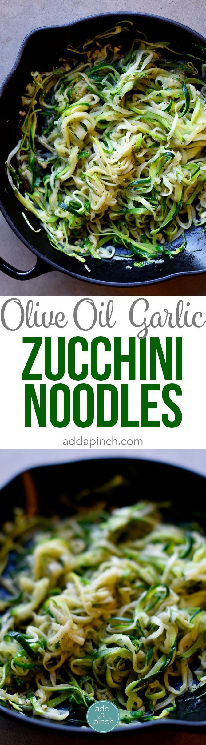 Olive Oil Garlic Zucchini Noodles Recipe - These Olive Oil Garlic Zucchini Noodles are fast and fabulous for a quick and easy way to incorporate more vegetables into your meals! Made with just a handful of ingredients and ready in minutes! // addapinch.co