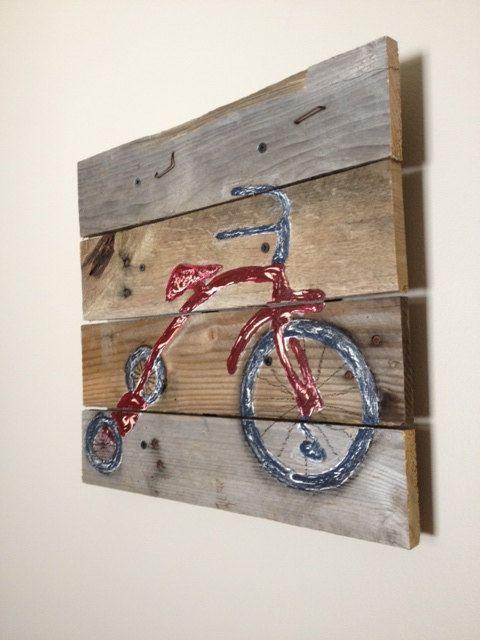 Red and Blue Tricycle,14X14,pallet art,planks,bicycle,Vintage,radio flyer,bike art,boy bike,baby boy's room,child's bedroom,nursery wall art...
