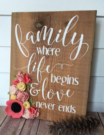 Family Where Life Begins/Wood Sign/Home Decor/Rustic Decor/felt flower/Reclaimed wood