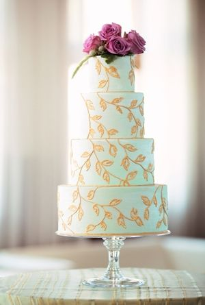 Mint Green, Gold Leaves Cake