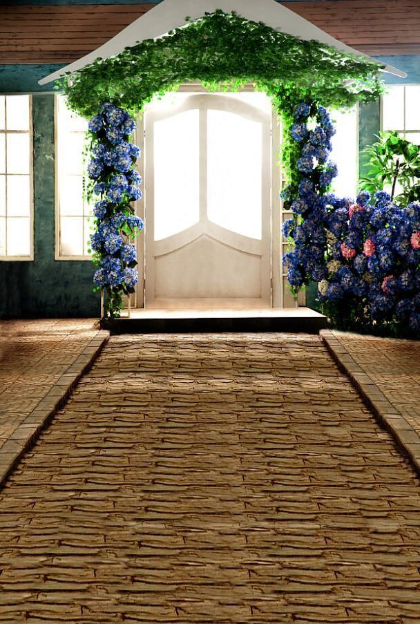 300 * 600 см ( 10feet * 20 футов ) арки с цветами каменная дорога фотографии фонов penteadeira