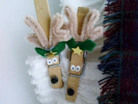 Reindeer clothespin ornament. Maybe googly eyes and darker antlers.  Might even paint the clothes pin