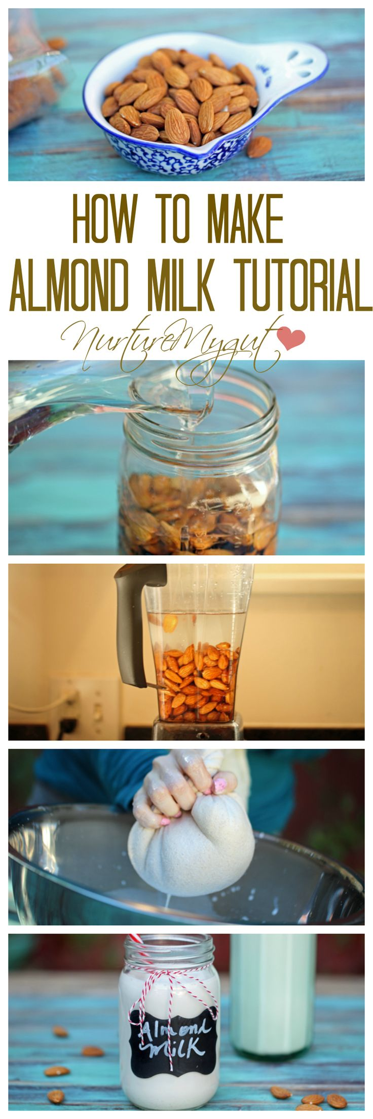 Learn how to make almond milk with this amazing step by step tutorial!  You will never want to buy store bought almond milk after trying this!
