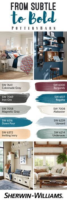 The Fall/Winter 2016 Palette from @potterybarn is an exquisite balance of subtle hues like Colonnade Gray SW 7641 and Underseas SW 6214 and bold expressions of color like Burgundy SW 6300 and Down Pour SW 6516. Achieve the perfect paint color harmony in your home with a seasonal palette that can wake up a sleepy bedroom, refresh your favorite nook and update whatever room you're cozying up in next.