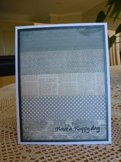 Everyday simple Card using mme paper strips sewn on to a backer, change the stamp to suit the occasion