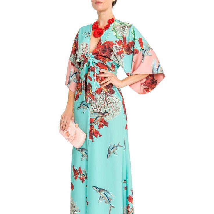 Vestido longo kimono estampado Pat Bo - Azul - shoplixmix