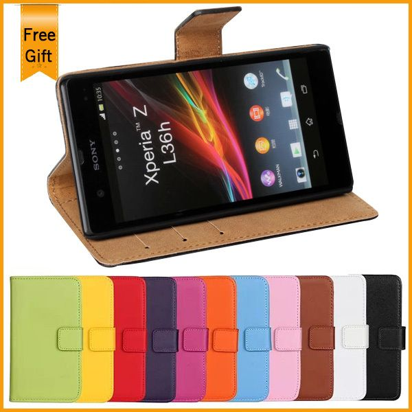 Retro Genuine Wallet Leather Flip Case For Sony Xperia Z L36H C6602 C6603 Stand Cover Case Card Holder Shell Phone Bags