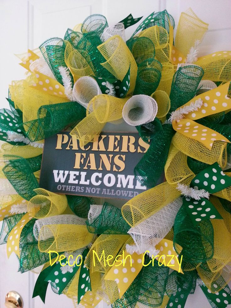 Green Bay Packers Sports Deco Mesh Wreath- www.facebook.com/decomeshcrazy