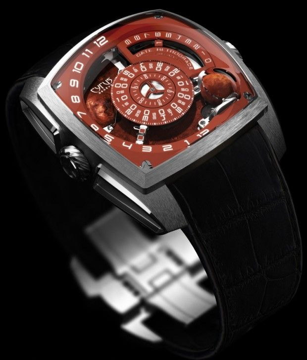 Cyrus Klepcys Mars Watch - The highlight of Klepcys Mars watches is the little red, manually painted three-dimensional sphere (7.6 mm in diameter), rotating at the right side of the dial, at the same speed as Mars does in the universe (one rotation every 24 hours, 37 minutes and 22 seconds).