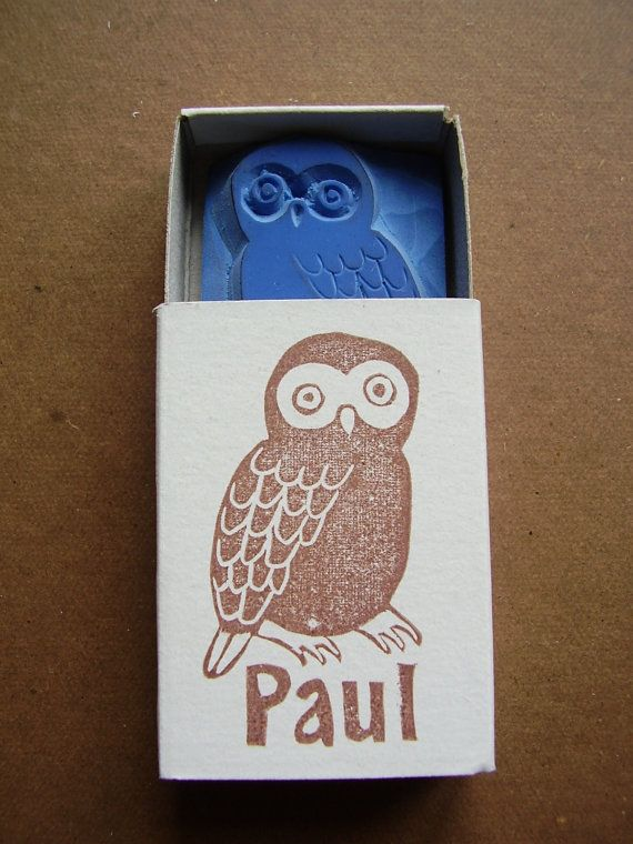 stamp owl / with your name by alinear on Etsy