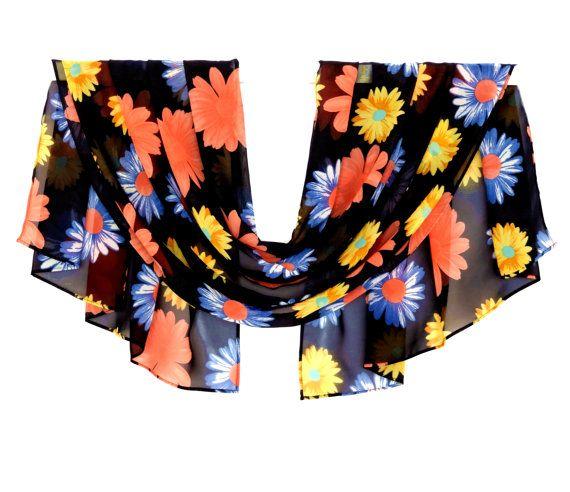 Pattern Scarf, Flower Scarf, Hair Scarf, Women Scarves, Head Scarf, Wrap Silk Scarf, Head Wrap, Gift For Her, Chiffon Scarf, Summer Scarf, Silk