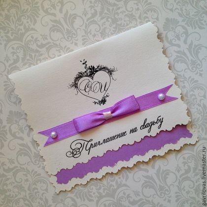 """Купить Приглашение на свадьбу """"Скромность"""" с инициалами - сиреневый, приглашения на свадьбу, пригласительные, приглашение"""