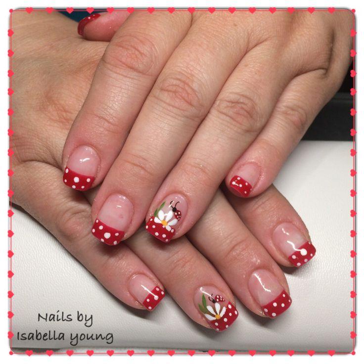 polka dots#flower#ladybug nails art design