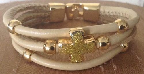 OZZI JEWELLERY: Leather bracelets with gold plated cross and details.  Price: 15e  #OZZIjewellery #fashion #jewelry #bracelets